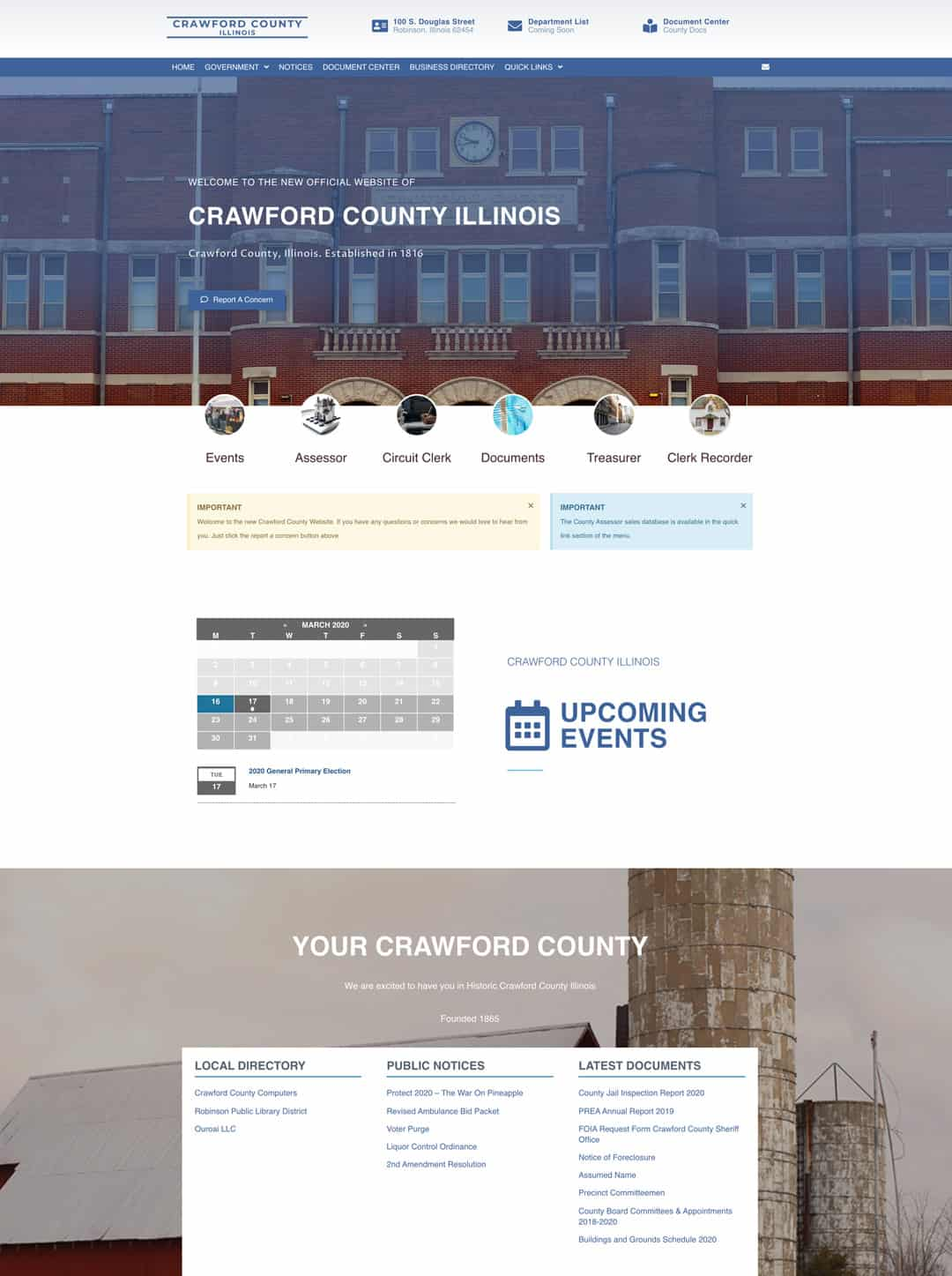 Screen Grab of the crawford county website